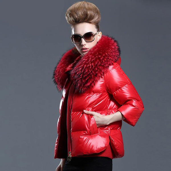 Women's Down Coat Fur Outwear Thick for Winter