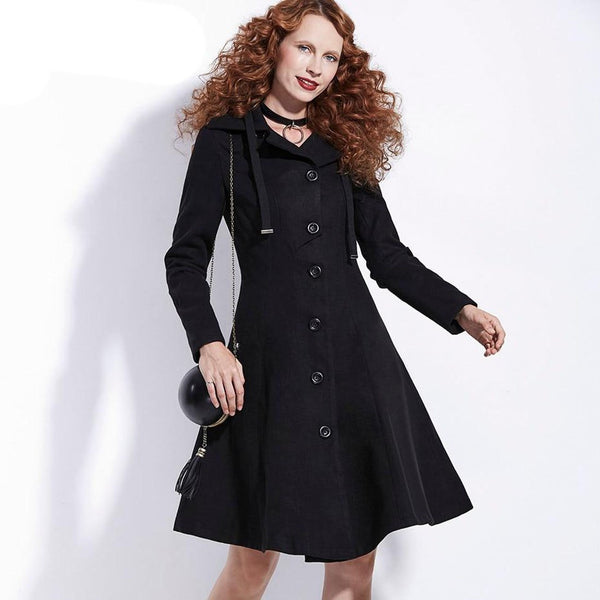 Women's Coat Gothic Woolen A-line Single Breasted Outwear Casual Bodycon forn Winter