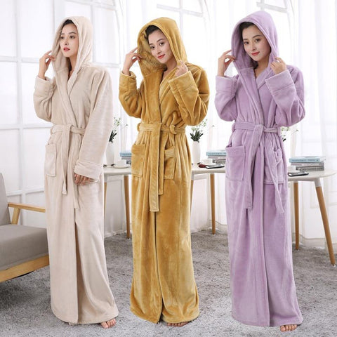 Unisex Adult's Bathrobe Hooded Extra Long Thermal Plus size Thickening Warm for Winter