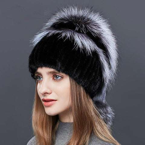 Women's Hat Double Warm Real Natural Mink Fox Fur for Winter