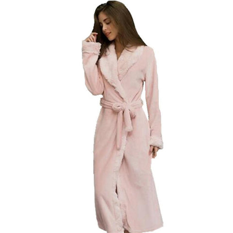 Women's Bathrobe Mink Flannel Sleep Lounge Loose Fleece for Winter