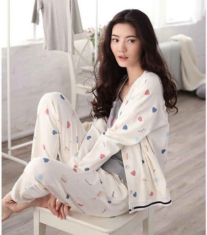 Women's Sleepwear Set 100% Cotton Long Sleeve for Spring