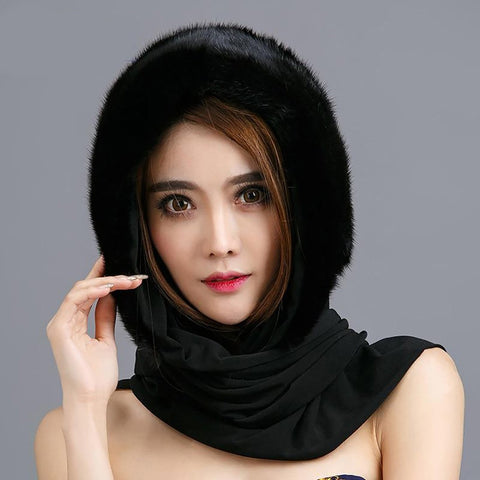 Women's Hat Scarf Natural Real Mink Fur Elegant Warm Classical Russian Style for Winter