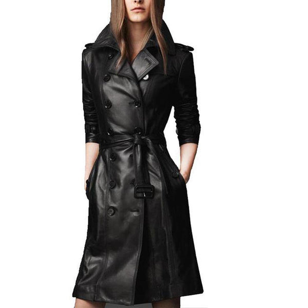 Woman's PU Leather Jacket Compound Sheepskin Wash Lace-up Plus Size Trench Long Cotton