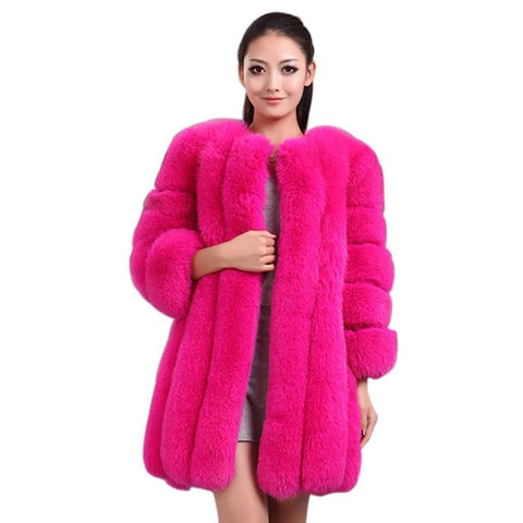 Women's Jacket Faux Fox Fur Slim Long for Winter