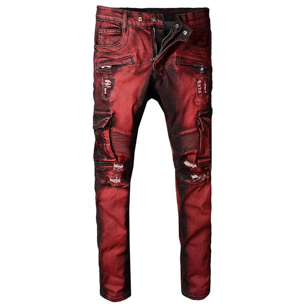 Men's Pants Pocket Jean Slim Holes Ripped Distressed Stretch Denim fpr Biker Motorcycle