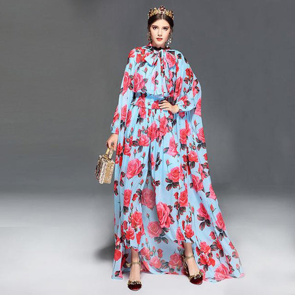 Women's Jumpsuit Long Sleeve Casual Floral Print Loose Elegant with Cloak