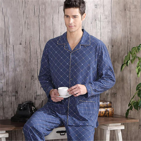 Men's Pajama Set 100% Cotton Plaid Woven Rayon Sleepwear for Autumn