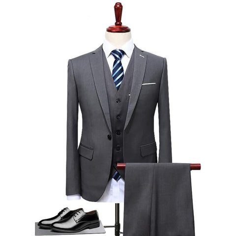 Men's Jacket Vest and Pants Suit 3pcs/set Plus Size Slim Fit Casual for Wedding Groom