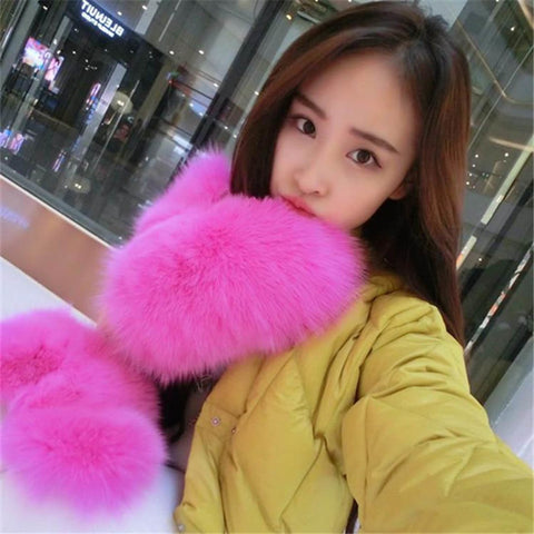 Women's Gloves Fox Fur Leather Warm for Winter