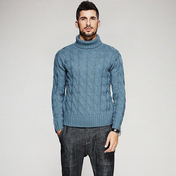 Men's Sweater Thick Turtleneck Knitted Slim for Autumn