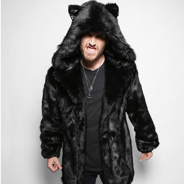 Men's Coat Hooded Fur Faux Mink Warm Oversize for Halloween Autumn Winter