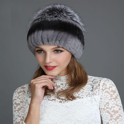 Women's Hat Real Fox Fur Warm Knitted Cotton for Winter