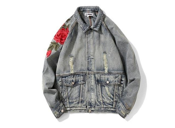 Women's Jean Coat Hip Hop Flowers US Size