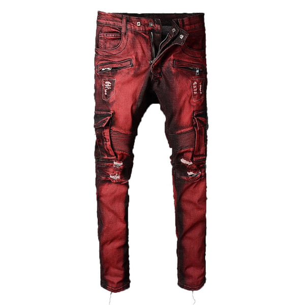 Men's Pants France Style Multipocket Ribbed Stretch Skinny Burgundy Jean Slim for Moto Biker