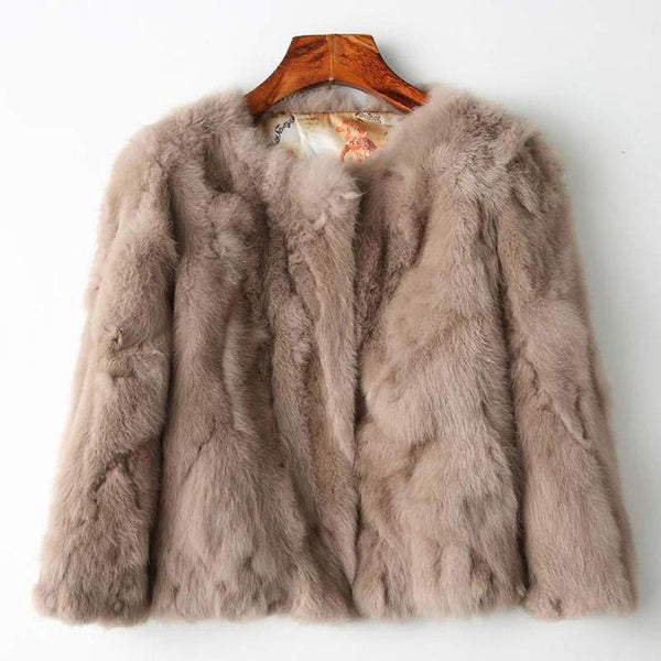 Women's Jacket Full Pelt Fur Rabbit Natural Wholeskin O-neck Slim Thin