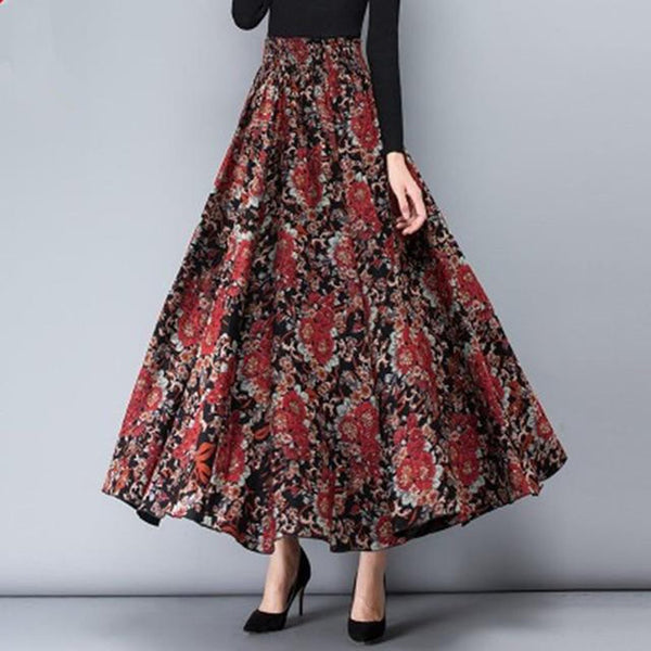 Women's Skirt Vintage Wool High Waist Jupe Printing Long Pleated for Autumn Winter