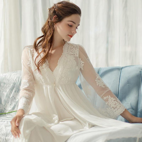 Women's Lace Robe 2pcs/set Long Embroidery Slip Sleepwear for Bride