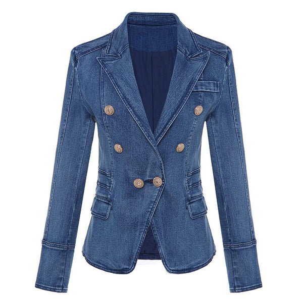 Women's Blazer Double Breasted Metal Lion Buttons Denim Outer