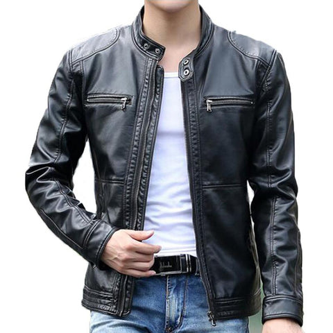 Men's Leather Jacket Stand Collar Casual Sheepskin Windbreaker Motorcycle