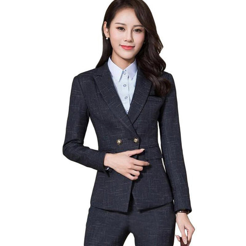 Woman's Blazer and Pants Suit Set Formal Stripe Long Sleeve Slim for Business Office Work Winter