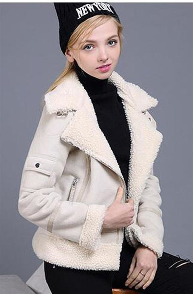 Women's Jacket Faux Shearling Sheepskin Thick Suede Lambs Wool Short for Motorcycle Autumn Winter