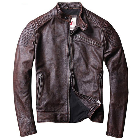 Men's Leather Jacket Distressed Vintage Cowhide Calfskin Slim Motor Biker