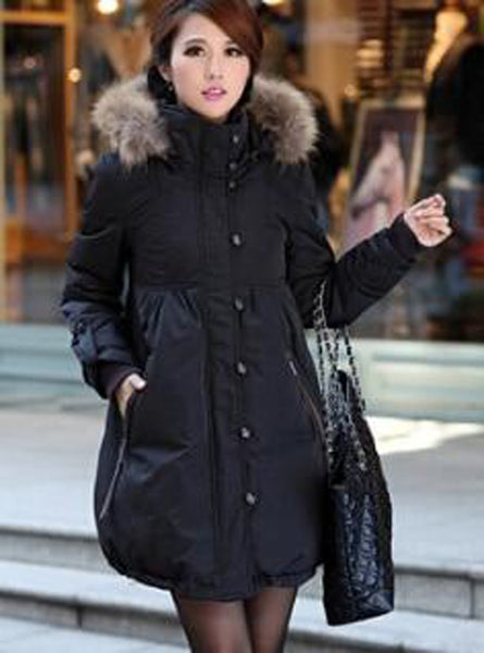 Women's Long Coat Cold Frost Resistance Warm Duck Down Plus Size Fur Collar for Winter