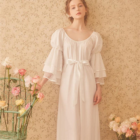 Women's Nightdress Sleepwear Cotton Princess Style Classical Royal Puff Sleeve Mid-calf Round Neck