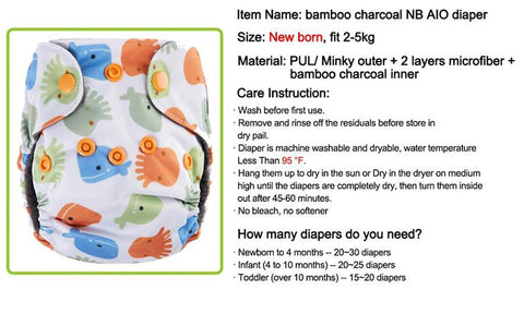3-5Kg Newborn's Cloth Diaper 10pcs/set Washable Reusable AIO Double Gussets