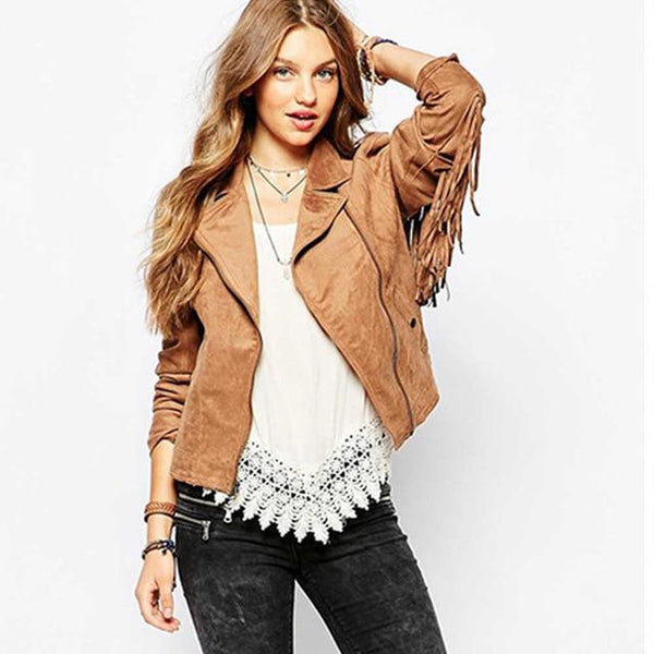 Women's Jacket Basic Button Tassel Suede for Winter