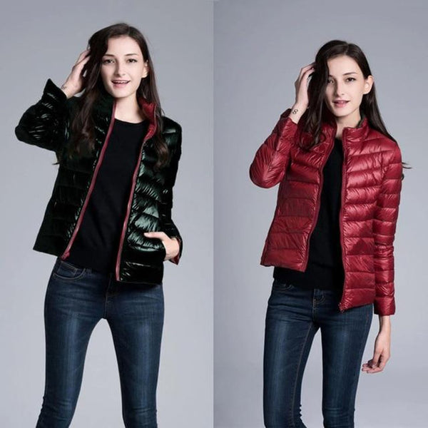 Women's Jacket Duck Down Ultra Light Reversible Two Side Wear for Winter