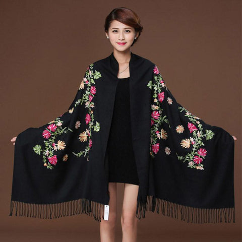 Women's Pashmina Scarf Embroidered Flower Cashmere Warm Fine Tassels for Winter
