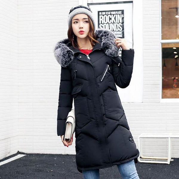 Women's Coat Hooded Fur Collar Thicken Warm Long Plus Size Outwear for Winter