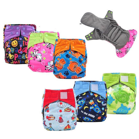 3-15Kg Baby's Cloth Diaper 5pcs/set Night Use AIO Heavy Wetter Double Gussets Reusable