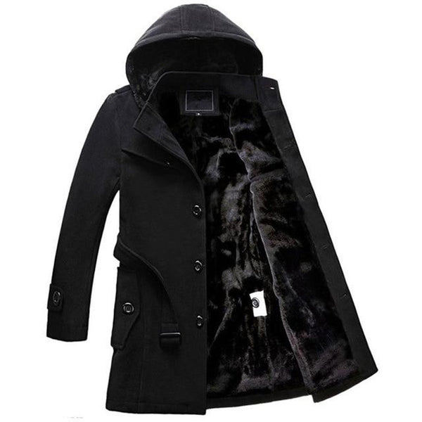 Men's Coat Hooded Wool Single Breasted Thicken Velvet Warm Long Trench for Winter