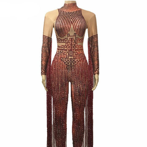 Women's Bodysuit Sparkly Rhinestones Long Tassel Glisten Stones Stretch Outfit for Singer Stage