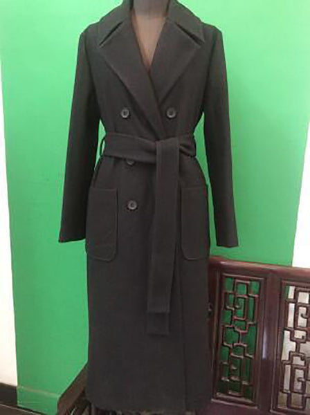 Women's Coat Plus Size Classic Simple Wool Maxi Long Outwear for Autumn Winter