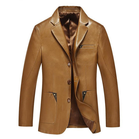 Men's Leather Jacket Sheepskin Split Slim for Spring Autumn