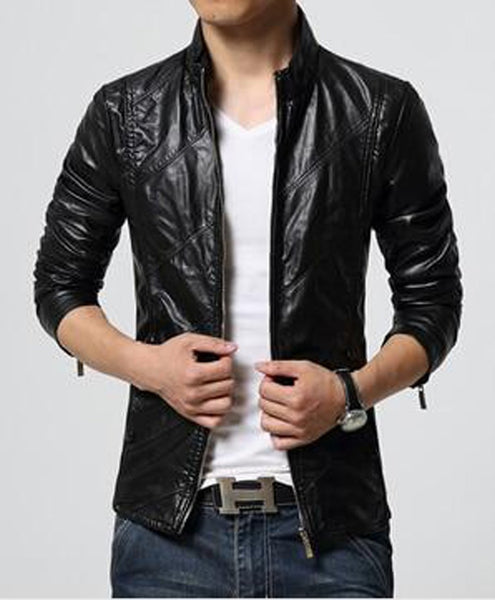 Men's Faux Leather Jacket Soft Solid Slim Fit for Motorcycle Autumn