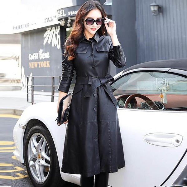 Women's Jacket Long PU Leather Elegant Washed Trench Outwear Belted Plus Size