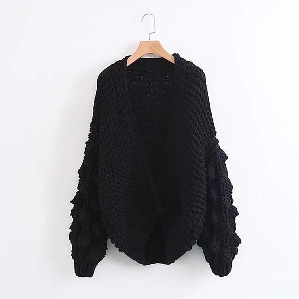 Women's Sweater Hand Coarse Knitted Thicken Warm Lantern Sleeve Crocheted for Winter