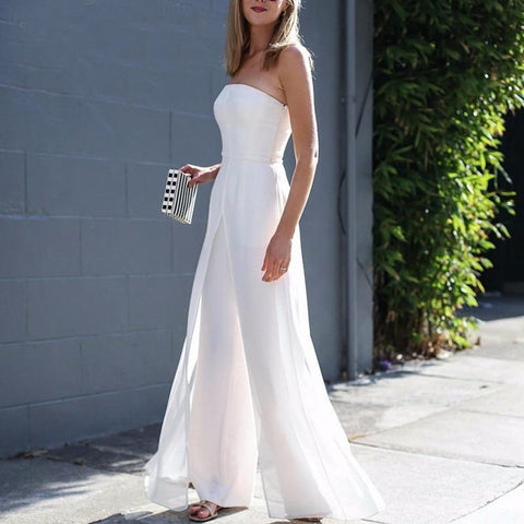 Women's Jumpsuit Strapless Chiffon Off Shoulder High Waist Zipper Long Large Size for Spring