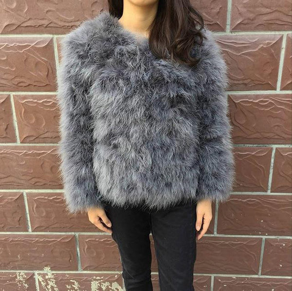 Women's Coat Real Fur Ostrich Feather for Winter