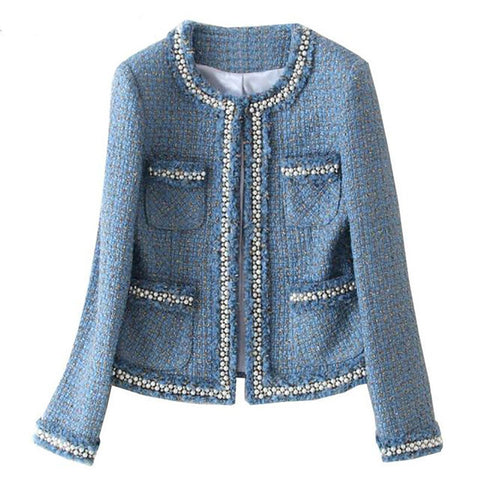 Women's Jacket Tweed Beading Long Sleeve Woolen Fringed Trim Tassels Pearl Pocket for Wutumn