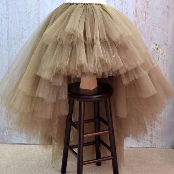 Women's Skirt Asymmetrical High Low Tiered Puffy Tulle Floor Lenght
