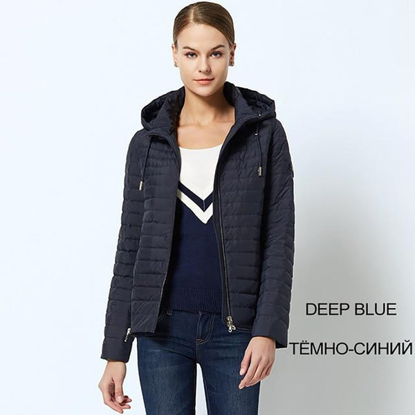 Women's Jacket Windproof Thin Cotton Padded Hooded for Spring