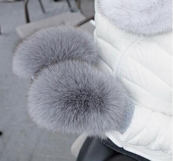Women's Gloves Woolen Real Fox Fur Covered for Winter