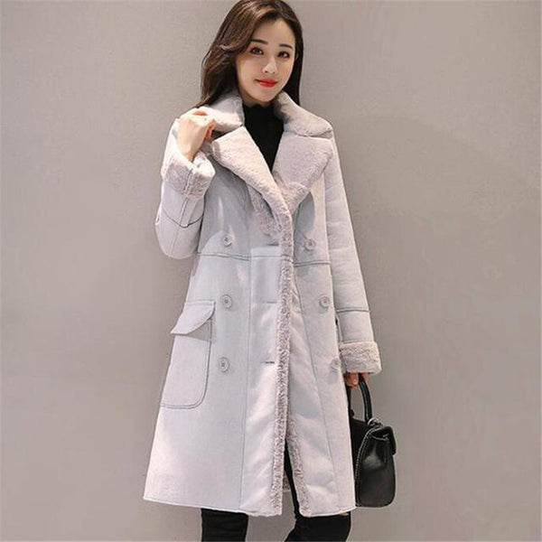 Women's Coat Long Warm Velvet Thicken Faux Suede Double Breasted Outwear for Winter Autumn