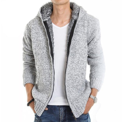 Men's Jacket Hooded Fur Inside Thick Warm Casual for Autumn Winter